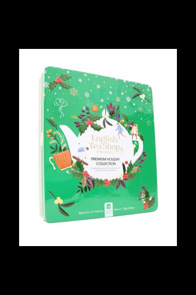 ETS 72 Karácsonyi/Ünnepi zöld fémdobozos prémium bio teaválogatás