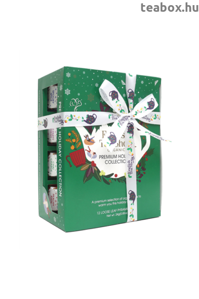 ETS 12 Karácsonyi zöld hóemberes selyempiramis filteres  bio teaválogatás